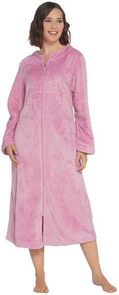 Stan Herman Textured Silky Plush Full Zip Robe Qvc 5784e2f3e