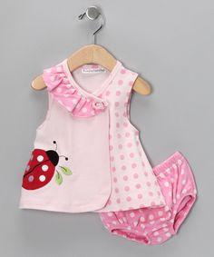 Pink Ladybug Wrap Dress & Bloomers