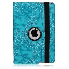 Rotating Embossed Flower PU Case