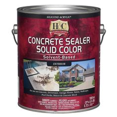 H&C Sandstone Solid Concrete Stain (Actual Net Contents: oz) at Lowe's. H&C® concrete sealer solid color is a solvent-based opaque waterproofing sealer. Can be used on driveways, garage floors, patios, and walkways. Concrete Sealer, Stained Concrete, Concrete Blocks, Painting Concrete Floors, Concrete Overlay, Concrete Patio, My Pool, Container Size, Lowes Home Improvements