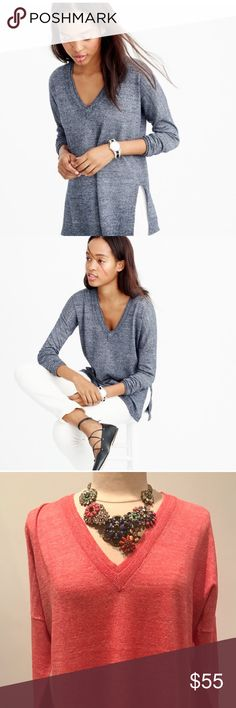 Merino-linen V-neck sweater PRODUCT DETAILS This is the sweater of our dreams: It features a flattering V-neck, easy side slits and a special wool-linen blend for a cool textured look.  Merino wool/linen. Rib trim at neck, cuffs and hem. Dry clean. Import. Item E9434. J. Crew Sweaters V-Necks