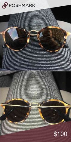 Ray-Ban Round Fleck Sunglasses Like new! Worn a couple times! Case is included! Ray-Ban Accessories Sunglasses