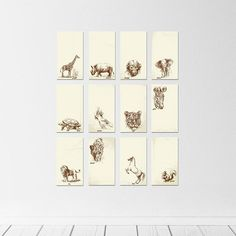 "54"" x 52"" - Kids Room Wall Art - Animal Portraits"