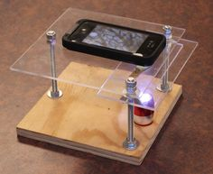 Picture of $10 Smartphone to digital microscope conversion!