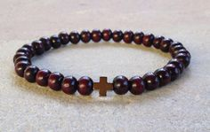 Wooden Beaded Bracelet with Hematite Cross by Twogratefulhearts