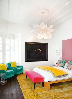 Bold, bright colours make this villa stand out from the crowd – Bedroom Inspirations Bright Bedroom Colors, Bright Rooms, Bright Colours, Bright Colored Bedrooms, Blue And Yellow Bedroom Ideas, Popular Bedroom Colors, Bright Colored Furniture, Relaxing Bedroom Colors, Neon Colors