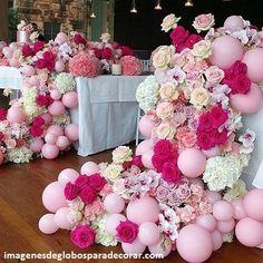 decoracion con globos para mesas matrimonio