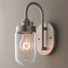 Clear Glass Jar Wall Sconce Brushed Nickel $99 Shades of Light #WallSconces