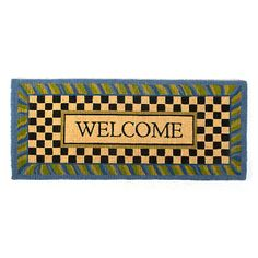 MacKenzie-Childs - Periwinkle Double Door Welcome Mat If there's no second chance at a first impression, make yours count! Greet guests with beautifully detailed, natural entrance mats.