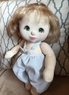 1985 Mattel My Child Doll Ash Blonde Hair Green Eyes Seersucker Jumper #Dolls