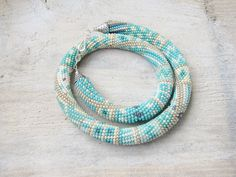 Bead crochet necklace, turquoise necklace, Statement Necklace, Crochet Rope, Beadwork jewerly, Bead crochet, green Necklace, Beaded Necklace by DolgovaSvetlana on Etsy