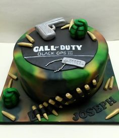 """Call Of Duty - Cake by Sarah Poole A large 12"""" chocolate sponge birthday cake with airbrushed camouflage effect :)"""