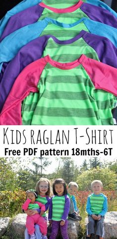 Multi-Size Free Raglan shirt pattern Kids sizes Full tutorial and printable PDF pattern. Can never have too many kids t shirt tuts Sewing Patterns For Kids, Sewing For Kids, Baby Sewing, Free Sewing, Clothing Patterns, Easy Patterns, Sewing Ideas, Sewing Projects, Raglan Shirts
