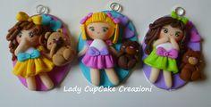 cameos with fimo dolls and their teddy bear