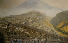 View of Mykenae and its acropolis in the Late Bronze Age, around 1300 BC.  Reconstruction based on a photo from the so-called Treasury of Atreus and excavation plans.