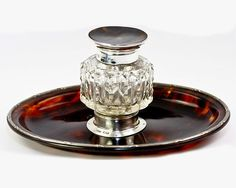 Antique English Sterling Silver and Faux Tortoise Shell Inkwell, Ink Well & Pen Stand