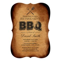 Vintage Old Paper BBQ Rehearsal Dinner Custom Announcement Retirement Party Invitations, Rehearsal Dinner Invitations, Retirement Parties, Invitation Paper, Vintage Wedding Invitations, Wedding Rehearsal, Rehearsal Dinners, Custom Invitations, Invites