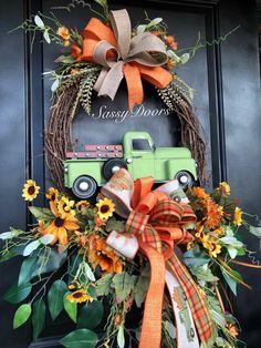 Fall Truck Wreath, Fall Wreath,- Truck Wreaths, Sunflower Wreath, Front DoorWreath, Green Truck Wreath, Sassy Doors Wreaths