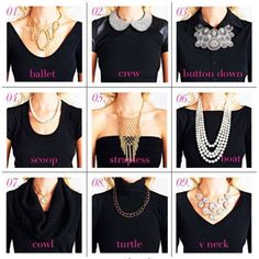 Trendy how to wear necklaces neckline accessories ideas Necklace For Neckline, Necklace Guide, Necklace Types, Different Necklines, Fashion Infographic, Retro Mode, Fashion Vocabulary, Types Of Collars, Celebrity Dresses