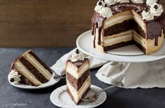 The Salted Caramel Mocha Cake is an absolutely show stopping confection that's just perfect for a special occasion.  Layers of fluffy angel food cake are stacked with a mousse filling, and alternated with a dense and darkly chocolate devil's food cake.
