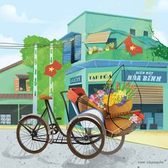 Street Carts Calandar for OceanBankHa Noi Hanoi Saigon Sai Gon Ho Chi Minh VietnamVuon IllustrationChildren Picture Book