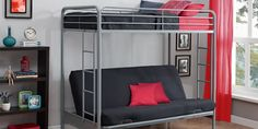 Find DHP Twin-Over-Futon Convertible Couch Bed Metal Frame Ladder - White online. Shop the latest collection of DHP Twin-Over-Futon Convertible Couch Bed Metal Frame Ladder - White from the popular stores - all in one Futon Bunk Bed, Futon Mattress, Twin Bunk Beds, Kids Bunk Beds, Twin Futon, Small Futon, Futon Bedroom, Futon Chair, Loft Beds