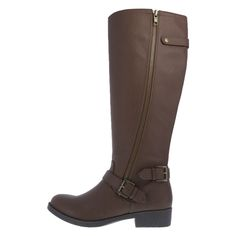 Although in my mind I think a slouchy knee-high boot is ideal. Perhaps that's not the best look for a tall gal like me. I do think this is the closest I will find of a boot that goes with nearly anything. Women's Questt Riding Boot, Cognac Size 13