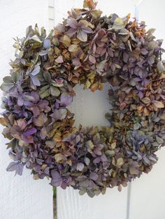 Hydrangea Wreath  Dried Hydrangea Wreath  Dried Wreath  Home Decor  Wall Decor  Summer Wreath  Shabby Chic  Birthday Gift by donnahubbard on Etsy