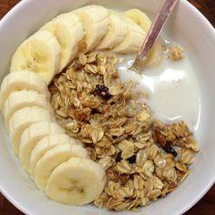 Power Breakfast homemade granola, banana, almond milk. #healthy #fitness  #food