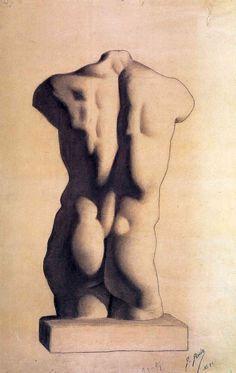1893-Yeso torso masculino
