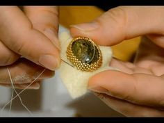 How to make a frame for a cabochon beads. Opleteniye of a cabochon on a fabric basis. Beading Patterns Free, Beaded Jewelry Patterns, Embroidery Jewelry, Beaded Embroidery, Jewelry Making Tutorials, Beading Tutorials, Bead Embroidery Tutorial, Beaded Crafts, Diy Schmuck