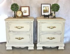 Nightstands painted with Old Ochre Chalk Paint, distressed and then sealed with clear wax. Done by Yesterday's Treasures by Maddy. Visit my Facebook page! https://www.facebook.com/Yesterdays-Treasures-by-Maddy-520858771365674/?pnref=story