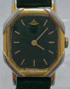 Seiko Ladies Two Tone Silver & Gold Watch w/ Black Leather Wristband $10.99 on eBay.