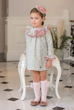 Dolce Petit Girls Gray Paisley Dress with Pale Pink Tulle Ruffles & Bow Cute Little Girl Dresses, Little Girl Outfits, Lovely Dresses, Kids Outfits, Flower Girl Dresses, Pink Tulle, Pink Dress, Baby Girl Fashion, Kids Fashion
