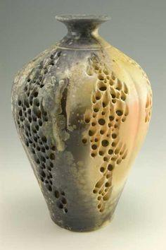 vdVBt7 - Illuminated 6 lobe bottle, 8x6, porcelain, wood fired, natural ash glaze - SOLD