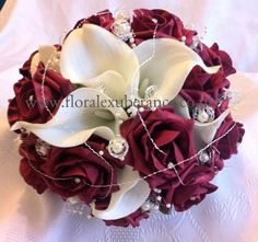 Burgandy rose bridal wedding bouquet Real touch by FloralBlooms, £68.00