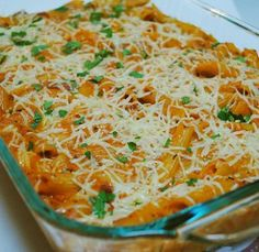 Red and White Baked Pasta - using marinara sauce and alfredo sauce, you get the best of both worlds.
