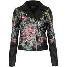 TOPSHOP Printed Floral Biker Jacket ($75) ❤ liked on Polyvore featuring outerwear, jackets, topshop, black, floral biker jacket, topshop jacket, motorcycle jacket and floral print jacket
