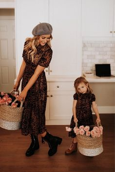 Anna Dress in Velvet Embossed Leopard – Ivy City Co Modest Dresses For Women, Modest Outfits, Nice Dresses, Small Celebrities, Mommy And Me Photo Shoot, Anna Dress, Future Daughter, Daughters, Mommy And Me Outfits