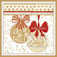 SALE *** TWO Paper napkins for DECOUPAGE-Chistmas Gold Balls C044 by…