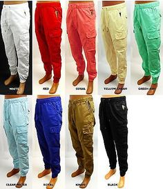 Men's EVOLUTION white red khaki royal black cargo twill jogger pants 33109A