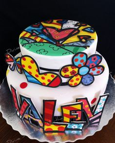 My daughters designed this cake for his daddy's birthday! That was a fun cake! Beautiful Cakes, Amazing Cakes, Fondant Cakes, Cupcake Cakes, Quilling Cake, Tattoo Cake, Artist Cake, Cake Decorating For Beginners, Fortune Cookie