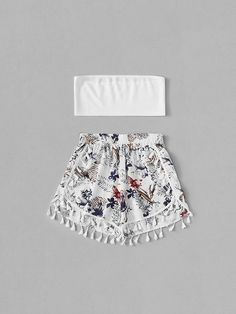 Floral Print Fringe Hem Two-piece OutfitFor Women-romwe Cute Outfits With Shorts, Crop Top Outfits, Cute Girl Outfits, Kids Outfits Girls, Hot Outfits, Cute Casual Outfits, Simple Outfits, Dress Outfits, Dresses