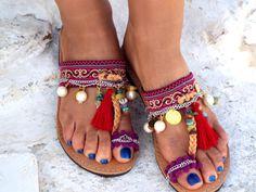 "Women's Shoes, Colorful Sandals, Greek Sandals, ""Morocco"" Summer shoes,  hippie leather shoes, dance shoes, oriental sandals"