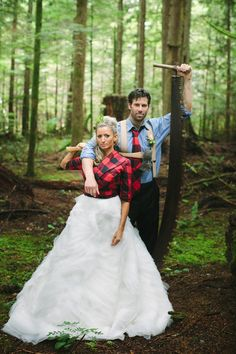 Absolutely love everything about this wedding. #lumberjack/#rustic wedding ideas