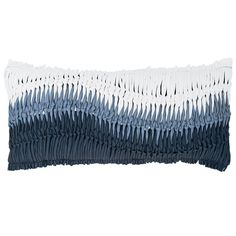 Add texture and a beachy vibe to any room with this decorative pillow. With its unique, chunky knotted front in a blue ombre effect, this throw pillow ties the knot between coastal cool style and modern décor. • 85% Polyester/15% Cotton. • Polyester front; cotton backing and lining. • Zipper closure.