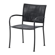 IKEA - LÄCKÖ, Chair with armrests, outdoor, Hand-woven plastic rattan looks like natural rattan but is more durable for outdoor use.Can be stacked, which helps you save space.The materials in this outdoor furniture require no maintenance.