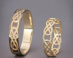 ✿ BESCHREIBUNG Handmade massiv 14k rose gold Ringe Set Trauring