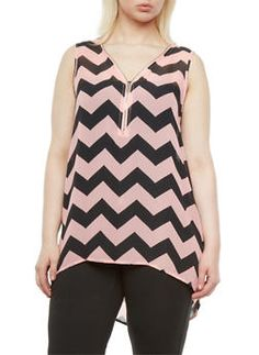 Plus Size Sheer High Low Tank Top With Zip Neck And Chevron Print,BLUSH