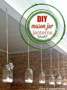 DIY Winter Holiday Mason Jar Lanterns for Home Decor and Gifts